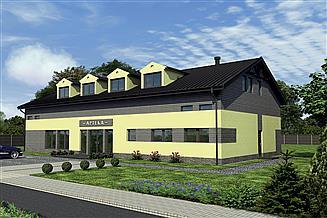 Projekt sklepu Murator UC52 Budynek usługowy z częścią mieszkalną