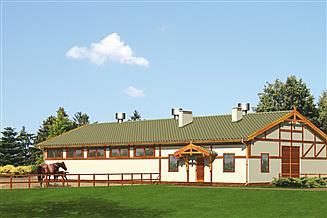 Projekt stajni Murator S12 Stajnia dla 10 koni z częścią mieszkalną