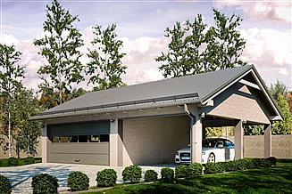 Projekt garażu G163 - Budynek garażowy z wiatą
