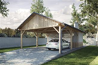 Projekt wiaty garażowej G170 - Wiata drewniana