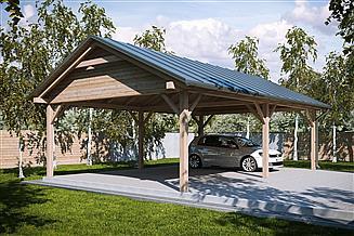 Projekt wiaty garażowej G167 - Wiata drewniana