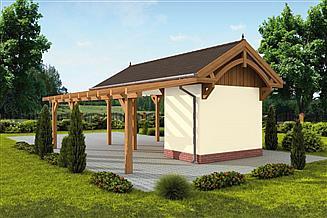 Projekt wiaty garażowej G67 szkielet drewniany, wiata garażowa