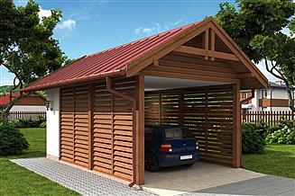 Projekt wiaty garażowej W1 Wiata garażowa jednostanowiskowa