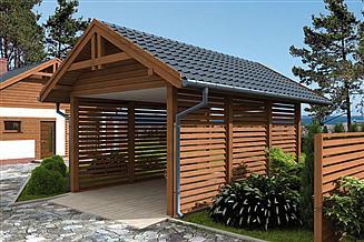 Projekt wiaty garażowej W2 Wiata garażowa jednostanowiskowa