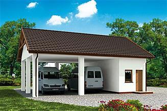 Projekt budynku gospodarczego G211 wiata garażowa, szkielet drewniany budynek gospodarczy