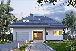 dom jednorodzinny z garażem – projekt domu E-158