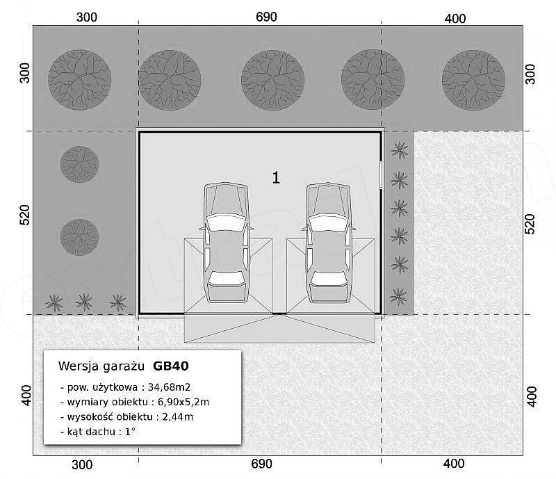 Projekt Garażu Gb40 Garaż Blaszany Dwustanowiskowy 3468 M2 Koszt