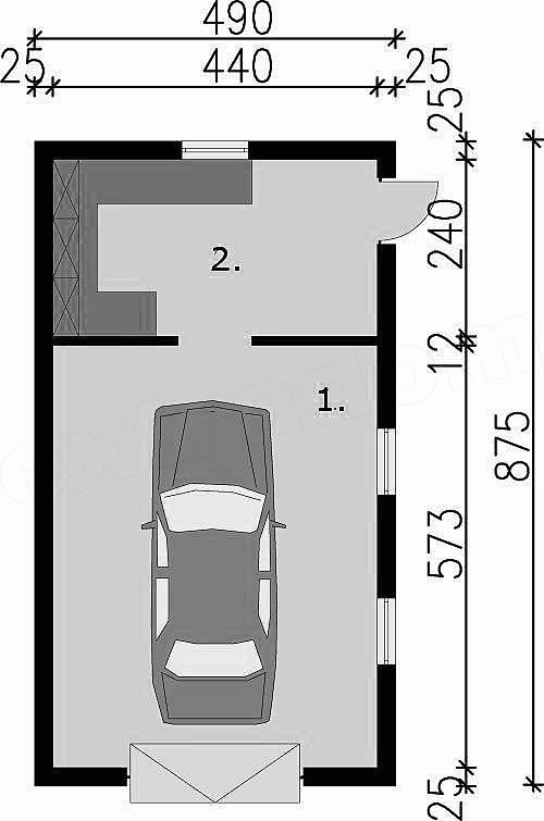 Projekt Garażu G8 Garaż Jednostanowiskowy Z Pomieszczeniem