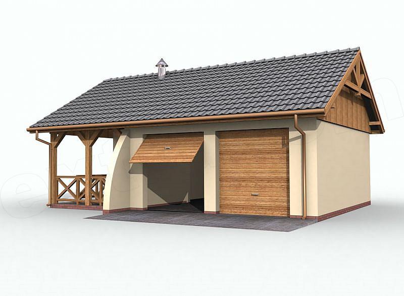 Projekt Garażu G42 Garaż Dwustanowiskowy Z Pomieszczeniem