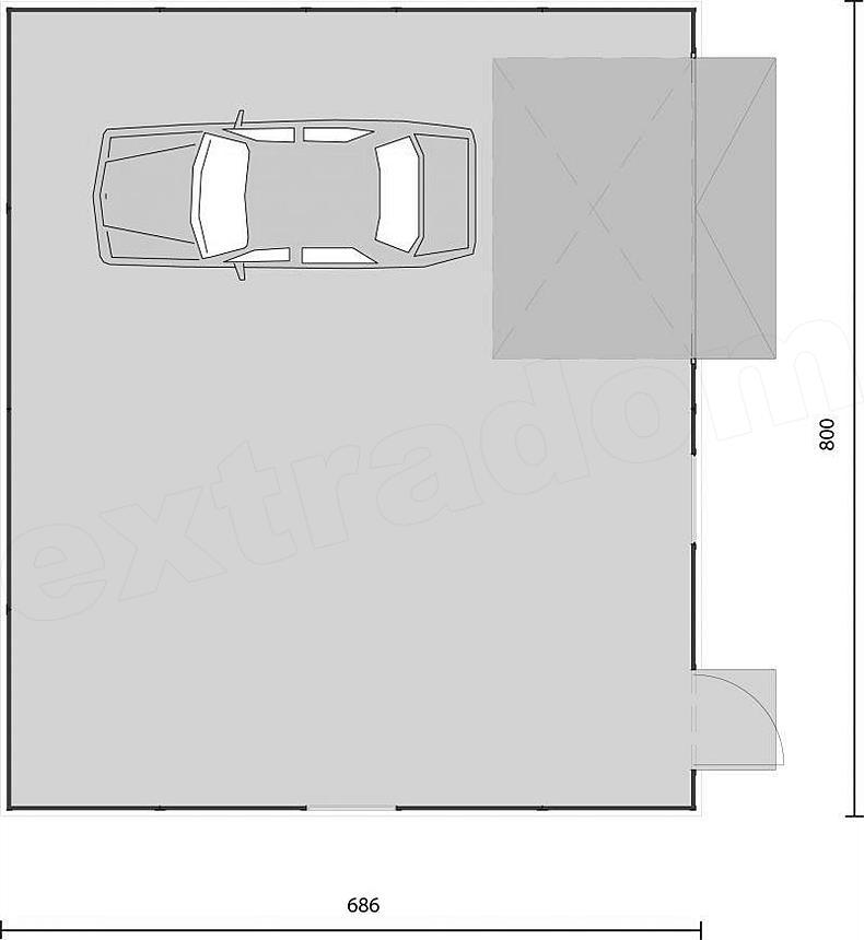 Projekt Domu Gb4 Garaż Blaszany Jednostanowiskowy Z Pomieszczeniem