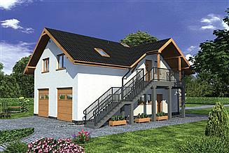 Projekt magazynu Murator GMC49 Budynek garażowo-magazynowy z częścią mieszkalną