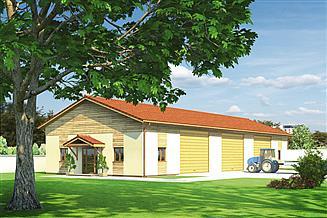 Projekt magazynu Murator GMC04f Budynek garażowo-magazynowy z częścią pomocniczą