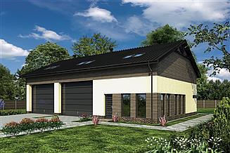 Projekt magazynu Murator GMC30b Budynek garażowo-magazynowy z pom. pomocniczymi i poddaszem użytkowym