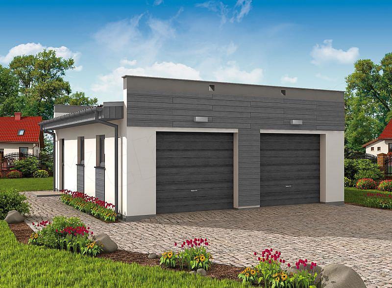 Projekt Garażu G1a2 Szkielet Drewniany Garaż Dwustanowiskowy Z