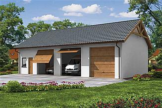 Projekt garażu G38 szkielet drewniany, garaż trzystanowiskowy z pomieszczeniami gospodarczymi
