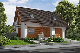 Projekt domu Katania 2 szkielet drewniany, dom jednorodzinny z poddaszem użytkowym