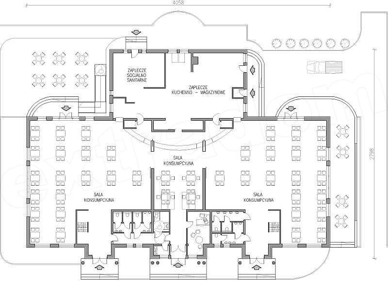 Projekt Domu Weselnego Restauracja Z 3 Salami Konsumpcyjnymi 805 M2