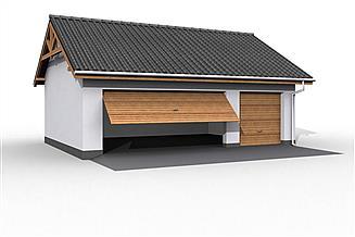 Projekt garażu G17 szkielet drewniany, garaż trzystanowiskowy