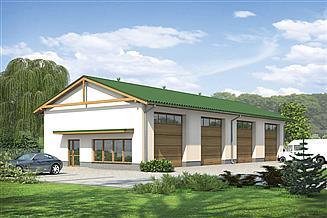 Projekt garażu Murator GM12 Budynek garażowo-magazynowy z częścią pomocniczą