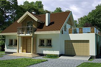 Projekt domu Agatka z tarasem nad garażem 2 stanowiskowym
