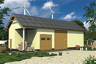 Projekt stodoły Murator IGC19 Stodoła z garażem