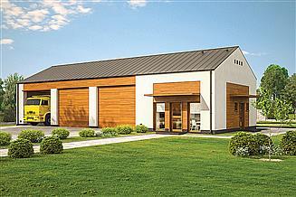 Projekt garażu Murator GMC39a Budynek garażowo-magazynowy z pom. pomocniczymi