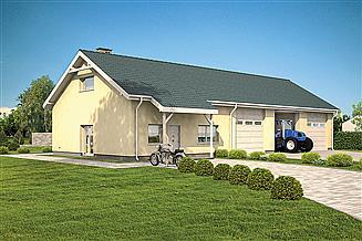 Projekt garażu Murator GMC56 Budynek garażowo-magazynowy z częścią mieszkalną i pom. pomocniczymi