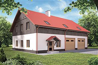 Projekt garażu Murator GMC14c Budynek garażowo-magazynowy z pom. pomocniczymi i poddaszem gospodarczym
