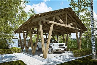 Projekt wiaty garażowej G278 - Wiata drewniana