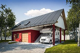 Projekt garażu G286 - Budynek garażowo - gospodarczy