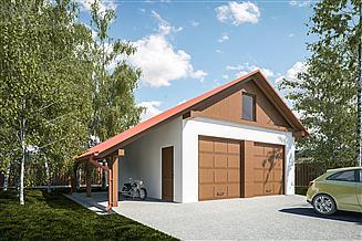 Projekt garażu G298 - Budynek garażowy z wiatą