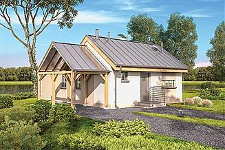 Projekt domu letniskowego Murator DL400a Ze świetlikami - wariant I (etap II) (rekreacyjny)
