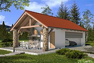 Projekt garażu A2 z wiatą