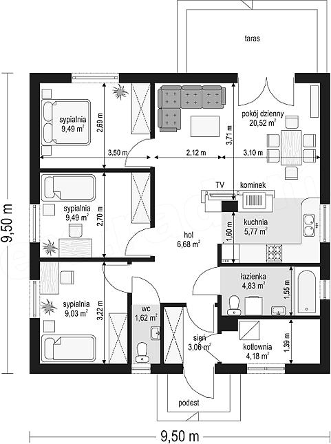 Projekt Domu Zosia 7048 M2 Koszt Budowy 70 Tys Zł Extradom