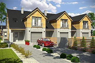Projekt domu Bazyli z garażem 1-st. szeregówka [A-SZP]