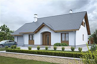 Projekt domu Groszek z garażem dach dwuspadowy opał stały