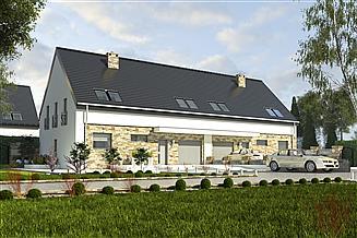 Projekt domu Bernikla II z garażem 2-st. bliźniak [A-BL1]