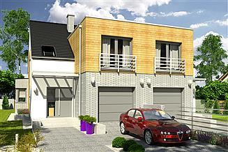 Projekt domu Bazyli trend z garażem 1-st. bliźniak [A-BL1]