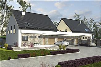 Projekt domu Bernikla z garażem 2-st. bliźniak [A1-BL1]