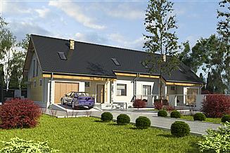 Projekt domu Alka II z garażem 1-st. bliźniak [A-BL2]