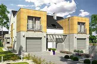 Projekt domu Bazyli trend z garażem 1-st. bliźniak [A-BL2]