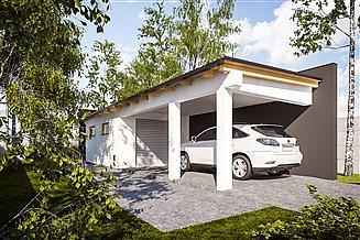 Projekt garażu G332 - Budynek garażowy z wiatą