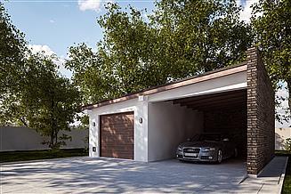 Projekt garażu G333 - Budynek garażowy z wiatą