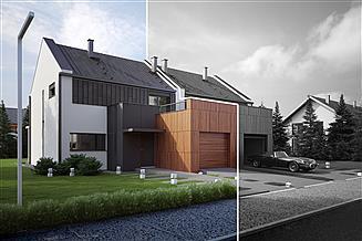 Projekt domu Twin modern A-L - pół bliźniaka