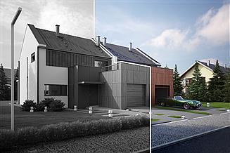 Projekt domu Twin modern B-P - pół bliźniaka