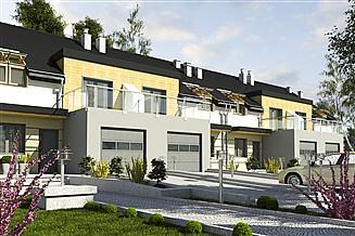 Projekt domu Gwarek II z garażem 1-st. szeregówka [A-SZ]