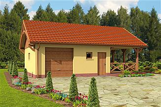 Projekt garażu G56 szkielet drewiany garaż jednostanowiskowy z pomieszczeniem gospodarczym, wiatą