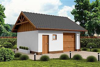 Projekt garażu G73B szkielet drewniany projekt garażu jednostanowiskowego z pomieszczeniem gospodarczym