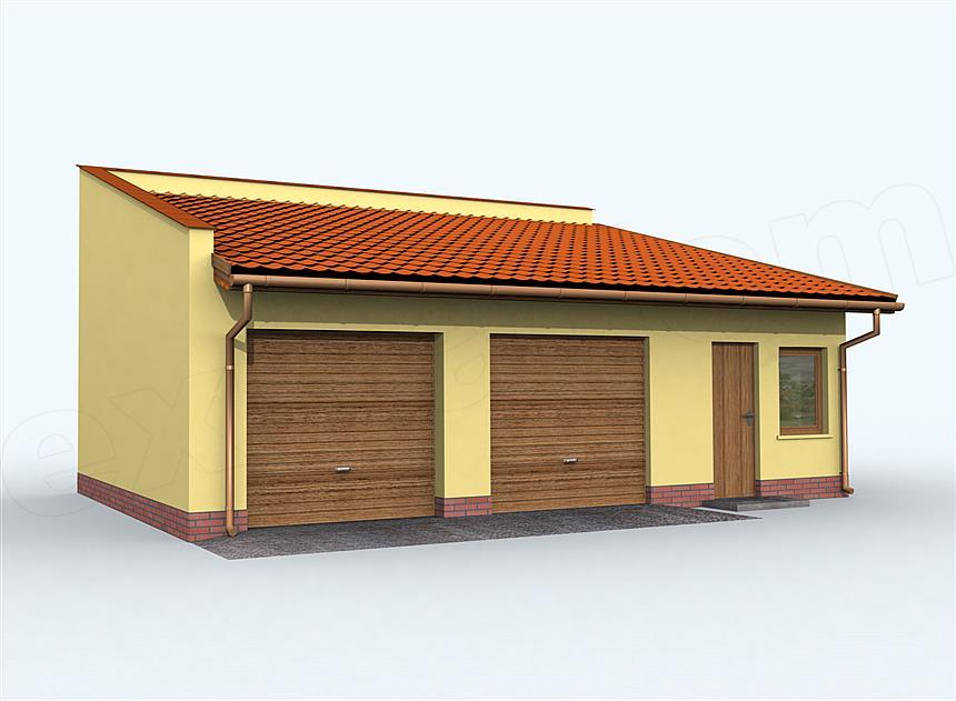 Projekt Domu G85 Szkielet Drewniany Garaż Dwustanowiskowy Z