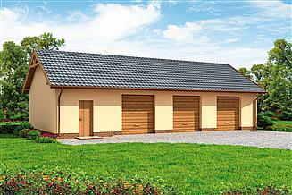 Projekt garażu G217 szkielet drewniany garaż trzystanowiskowy z pomieszczeniami gospodarczymi